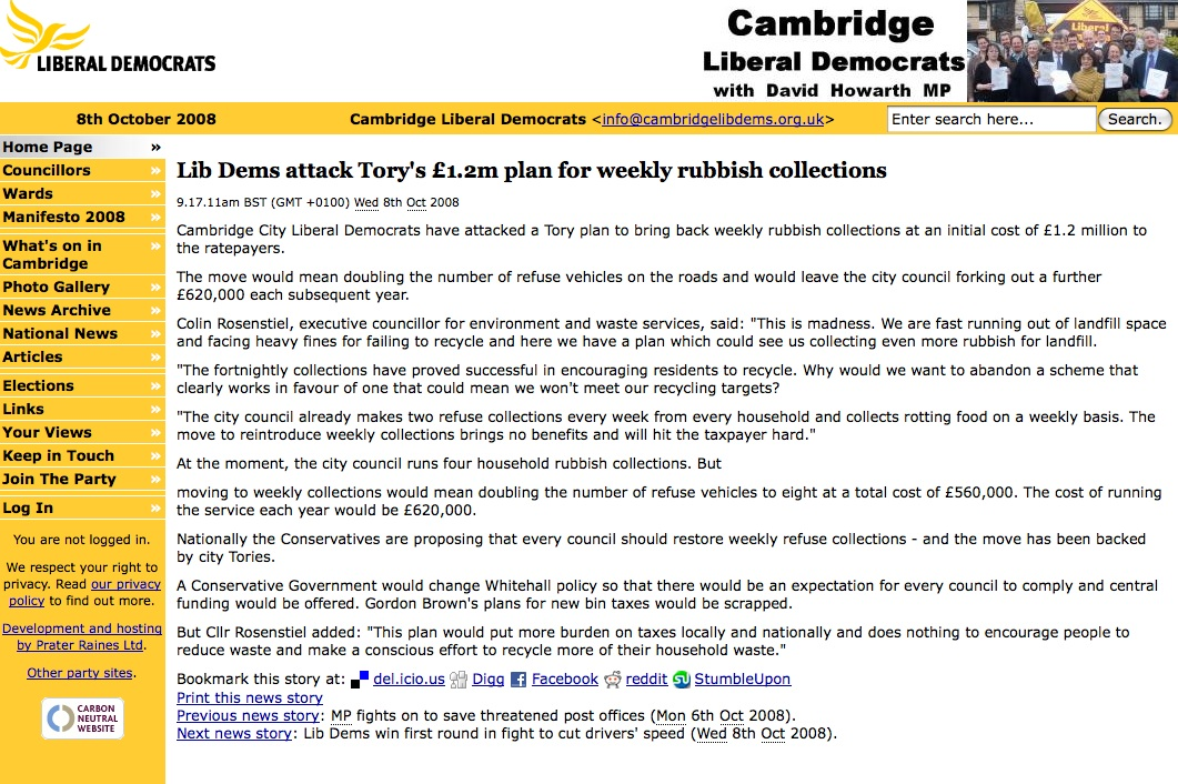 Cambridge Lib Dem website screenshot showing the above quote