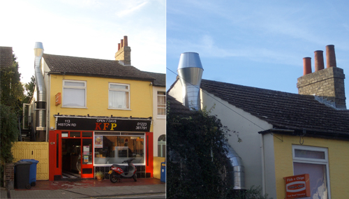 113 Histon Road, Showing the Shiny Metal Flue
