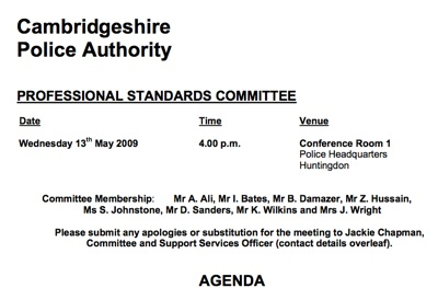 Agenda for Cambridgeshire Police Authority's Professional Standards Committee on the 13th of May 2009