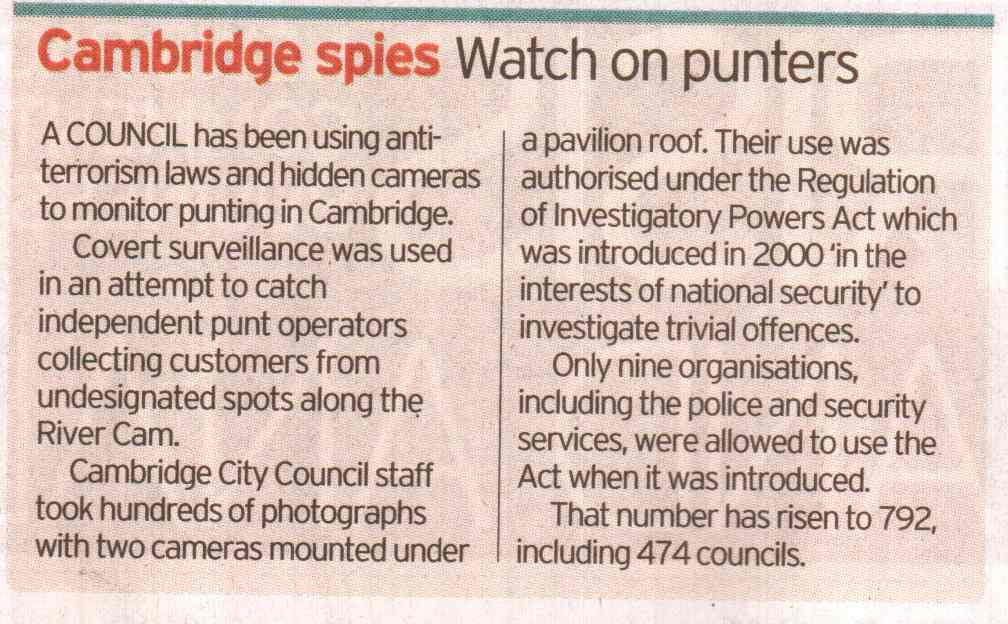 A council has been using anti-terrorism laws to monitor punting in Cambridge...