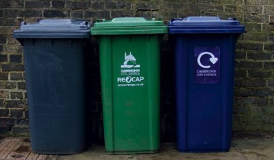 A third, blue, bin is due to be introduced to Cambridge shortly.