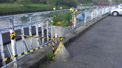 Concrete Planter Installed by Riverside Resident Marueen Symons to Maintain Her River View