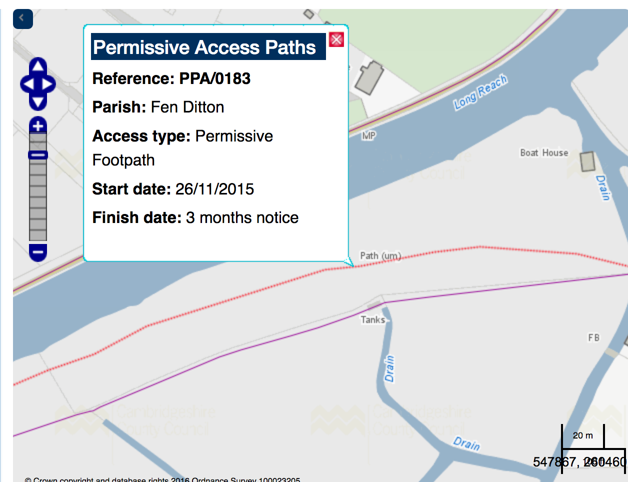 Map showing path as permissive access with label reference for the path PPA/0183