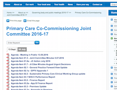 Screenshot of Cambridgeshire and Peterborough Primary Care Co-Commissioning Joint Committee 2016-17 webpage