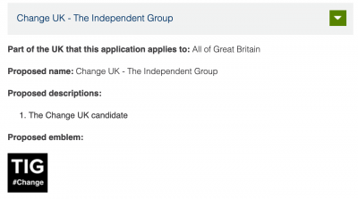 "Screenshot of ""Change UK - The Independent Group"" application for party name registration from the Electoral Commission website. Source: https://www.electoralcommission.org.uk/i-am-a/party-or-campaigner/guidance-for-political-parties/pending-registration-applications/current-applications"