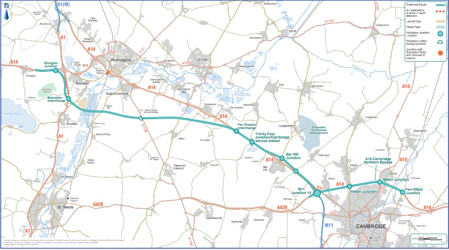 Map of planned A14 improvements