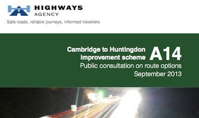 Cover of consultation document; title, Highways Agency Logo, abstract picture of a road.