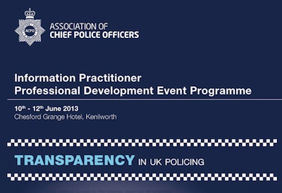 Screenshot from the Transparency in UK Policing event program, showing the title, date and ACPO logo