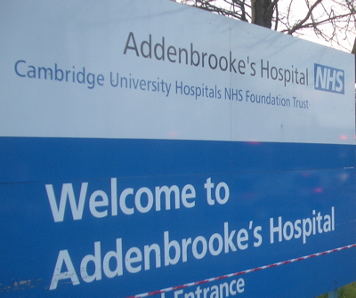 Addenbrooke's Hospital, Cambridge - Main Road Entrance Sign