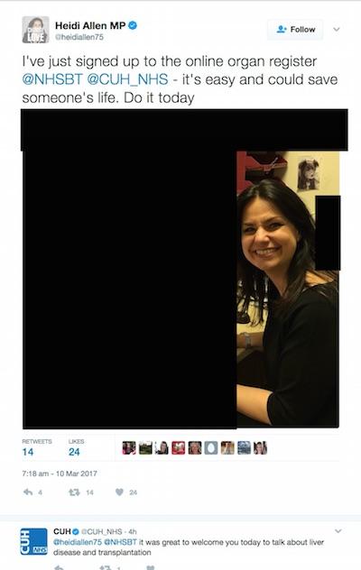 Heidi Allen's tweet. Image shows the MP but has computer, desk and bookshelf redacted