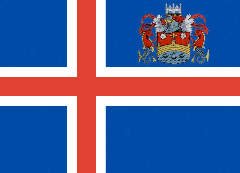 Montage of the Icelandic Flag with the Cambridge City Council Crest