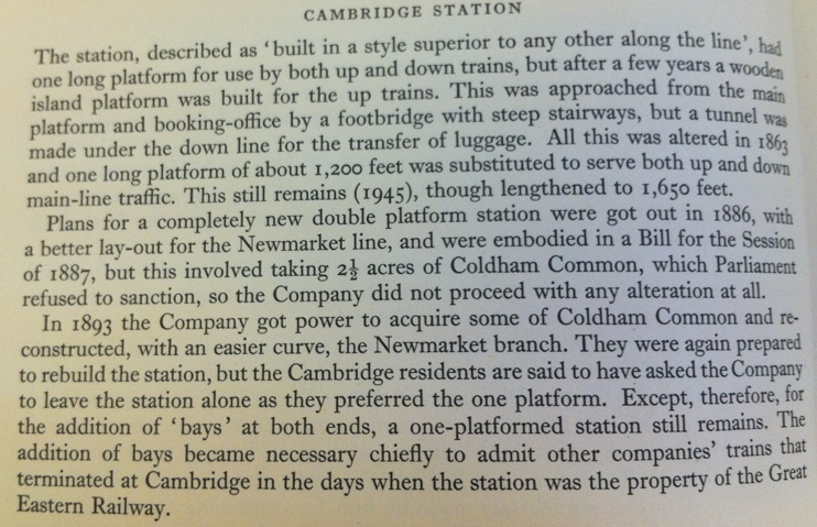 Photo of book describing old tunnel at Cambridge Station.