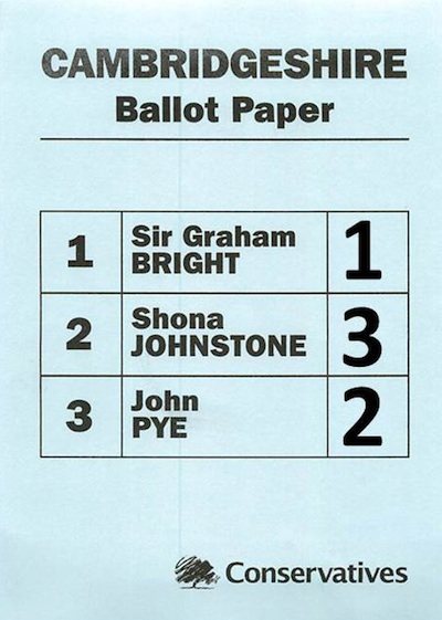 Cambridgeshire Conservative Police and Crime Commissioner Selection Ballot Paper