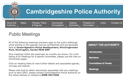 Screenshot of the Police Authority Public Meetings Page