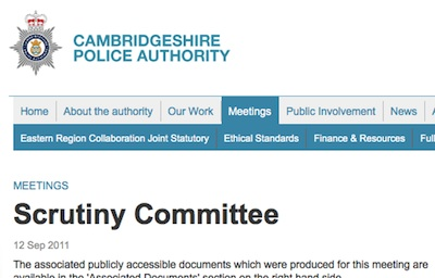 Cambridgeshire Police Authority Scrutiny Committee Webpage Screenshot