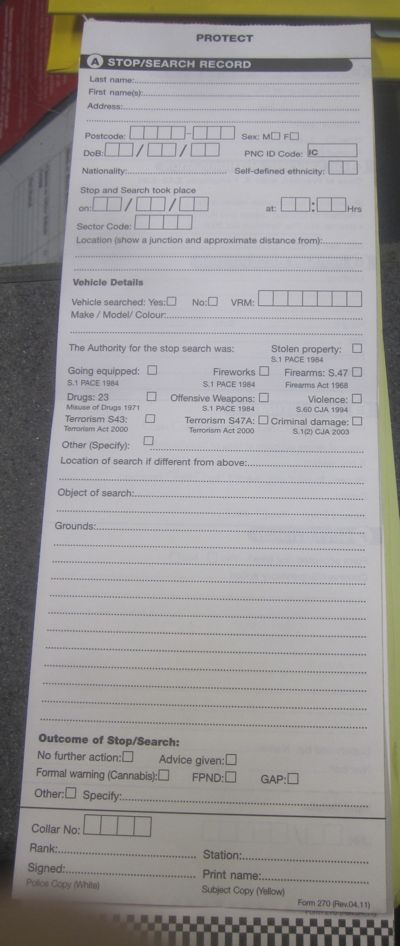 Cambridgeshire Police Stop and Search Form