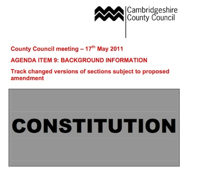 Proposed changes to Cambridgeshire County Council Constitution