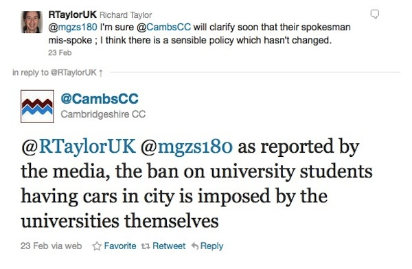 @RTaylorUK @mgzs180 as reported by the media, the ban on university students having cars in city is imposed by the universities themselves