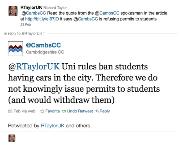Uni rules ban students having cars in the city. Therefore we do not knowingly issue permits to students (and would withdraw them)