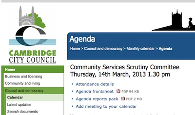 Agenda Screenshot March 2013 Community Services Scrutiny Committee Cambridge City Council