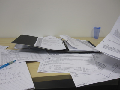 Cambridge City Council's accounts, along with reports printed off the council's accounting system
