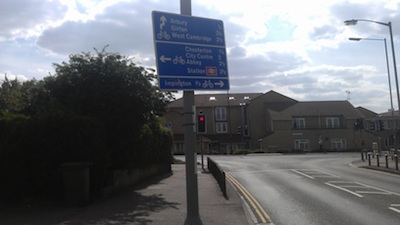 Askew cycle direction sign on Campkin Road