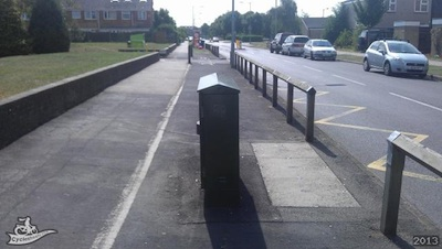 Obstructed Cyclepath - Telcoms box in cycle path