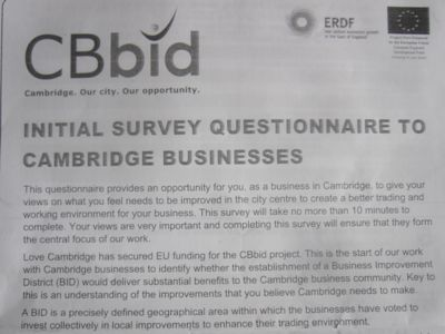 Photo of the survey front page