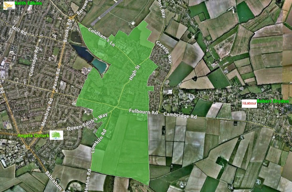 Cherry Hinton map with candidates addresses