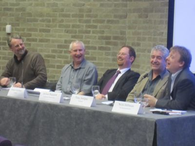 Left to right: Martin Booth, Cambridge Socialists; Daniel Zeichner, Labour; Julian Huppert, Liberal Democrats; Tony Juniper, Green Party; Nick Hillman, Conservatives.