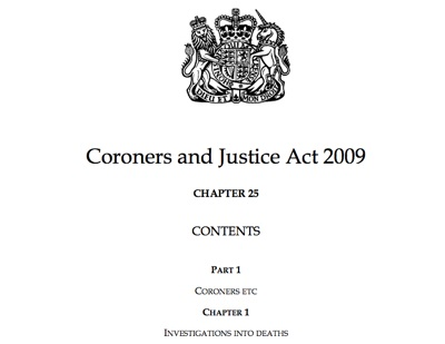 Coroners and Justice Act Front Page