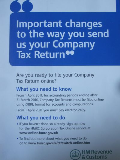 from the 1st of April 2011, for accounting periods ending after 31 March 2010 Company Tax Returns must be filed online using iXBRL format for accounts and computations.