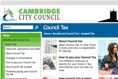Cambridge City Council Council Tax Web Page