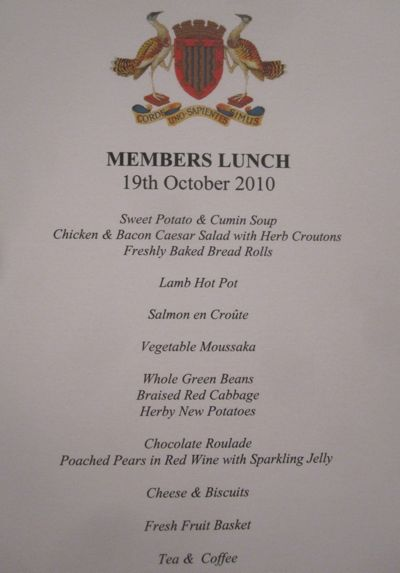 Menu for lunch at the Cambridgeshire County Council meeting on the 19th of October 2010.