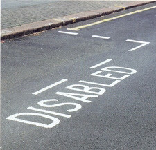 Disabled bay marking on a road