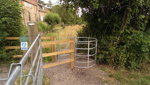 New fence and gate on Ditton Meadows, diverting commonly used path from its riverside route.