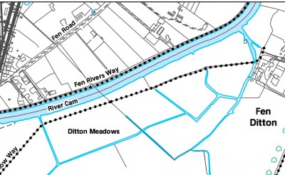 Map of footpath on Ditton Meadows