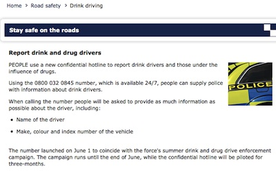 Cambridgeshire Police Have Launched A New Number for Reporting Drink and Drug Driving.