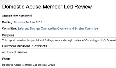 Domestic Abuse Member Led Review