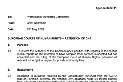 Report to 13.05.09 Police Authority Meeting on ECHR DNA ruling