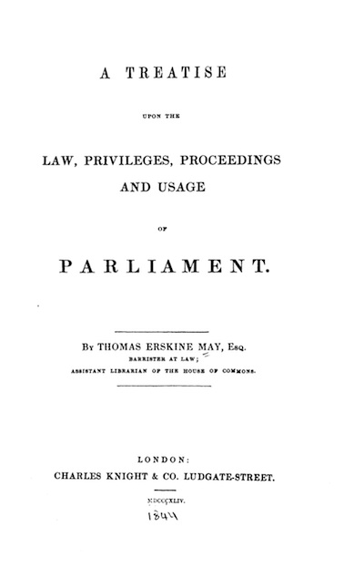 1st edition of Thomas Erskine May's book