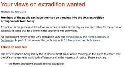 Members of the public can have their say on a review into the UK's extradition arrangements