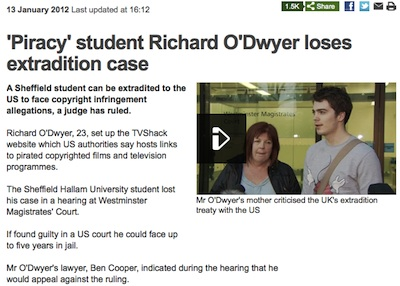 January 2012 Richard O'Dwyer loses extradition case.
