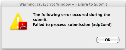 failed to process submission [xdp2xml]