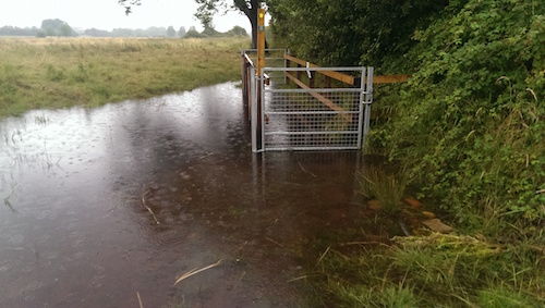 new gates and path under water