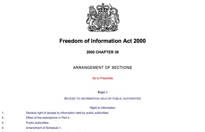 Thumbnail Screenshot of the Freedom of Information Act