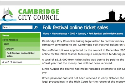 Folk Festival Ticket Money in Limbo
