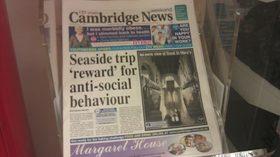 Cambridge News Front Page Headline: Seaside Trip 'reward' for Antisocial Behaviour