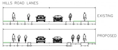 Plan of existing and proposed cycleways for Hills Road - Described in Article