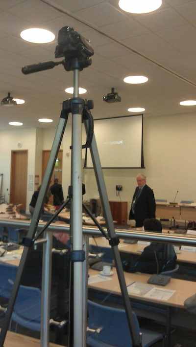 Richard Taylor's camera on its tripod at Huntingdonshire District Council - Overt Filming of the Council Meeting.